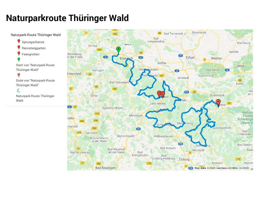 Die geplante Route im Thüringer Wald