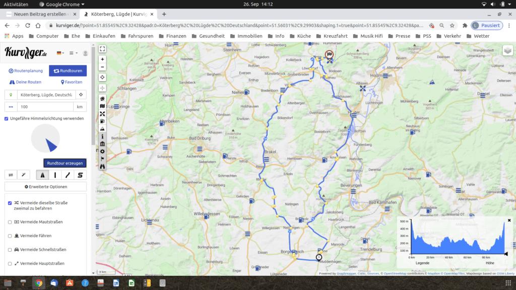 Routenanzeige auf dem Desktop von Kurviger.de mit Höhenprofil