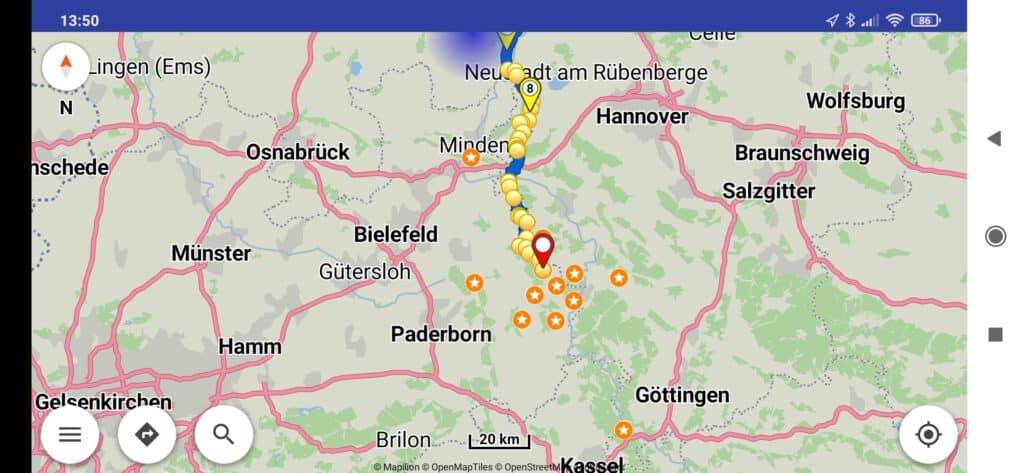 App Bildschirm von Kurviger.de