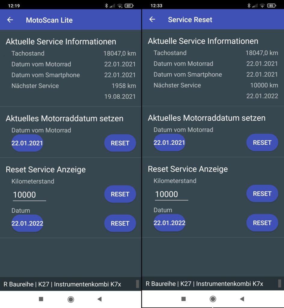 Servicerückstellung mit Motoscan App